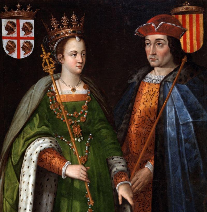 Détail des portraits de Pétronille d'Aragon et Ramon Berenguer IV. Attribué à Francisco Camilo et Andrés Urzanqui en copie de l'original par Filippo Ariosto.