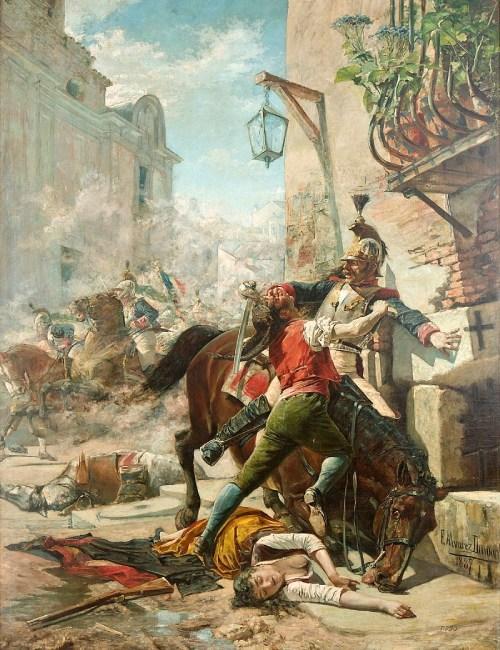 Juan Malasaña et sa fille combattant les Français