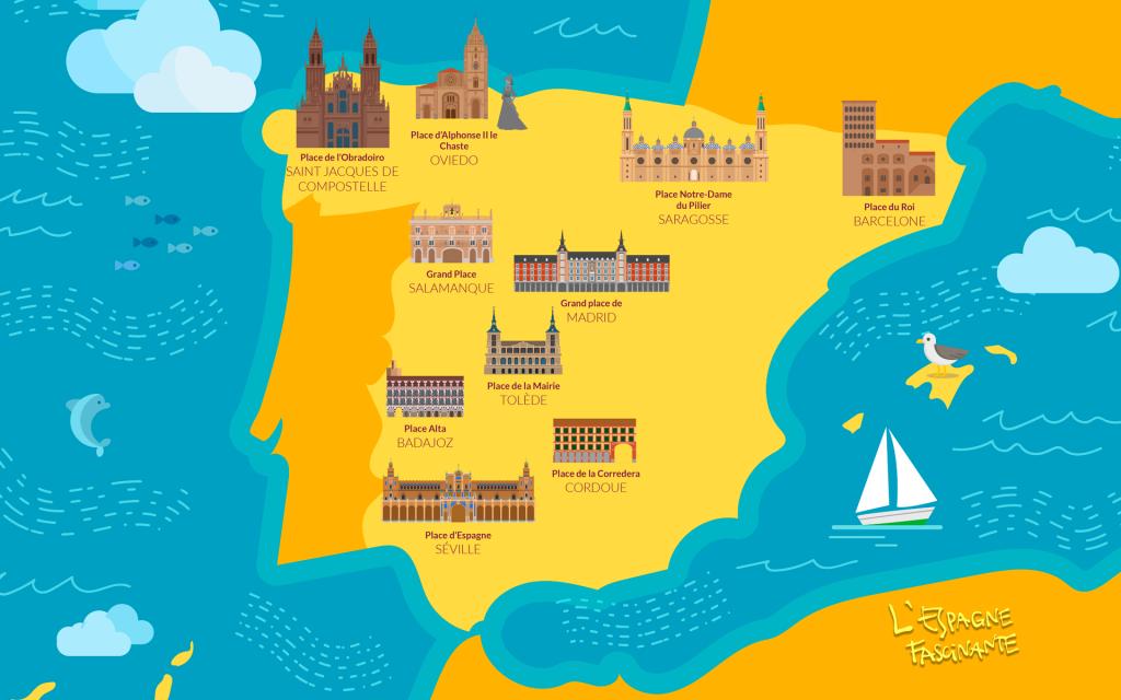 Carte des places les plus spectaculaires d'Espagne