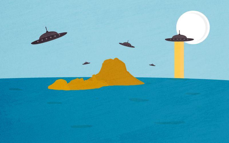 Illustration d'ovnis survolant Es Vedrà