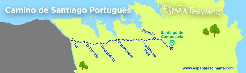 Mapa camino santiago portugues Tui