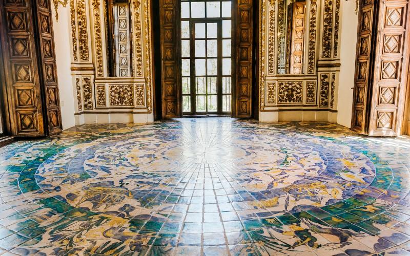 Palais ducal de Gandía, carreaux de la Galerie d'Or