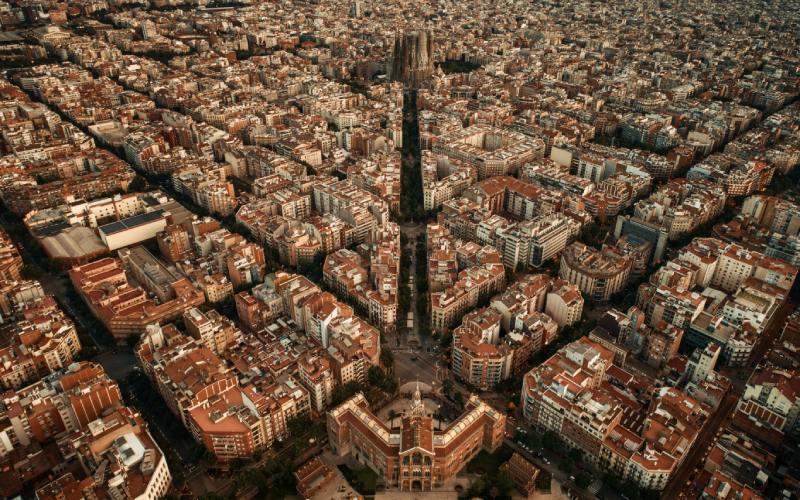 Vue aérienne de Barcelone qui montre sa nouvelle disposition