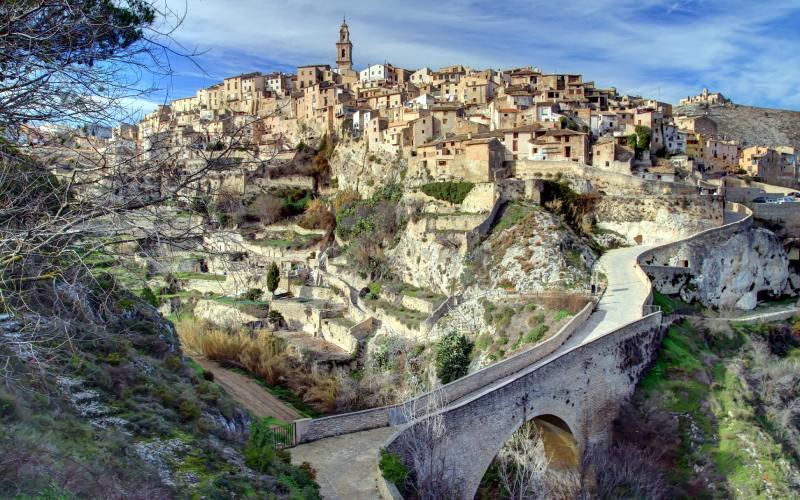 Vue aérienne de la ville de Bocairent