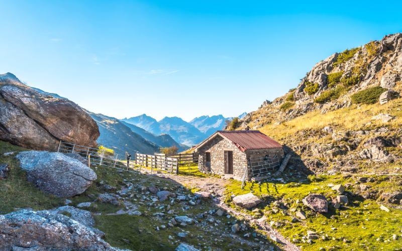 Le refuge à l'embouchure de la vallée d'Aguas Tuertas