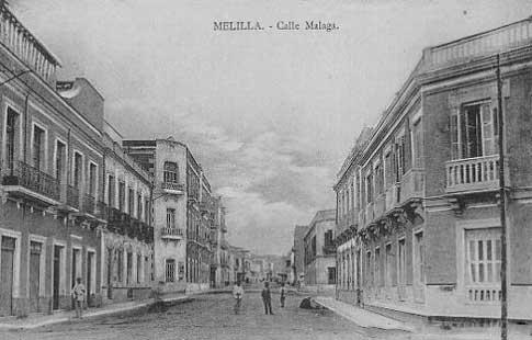 Ancienne photographie de la rue Málaga de Melilla