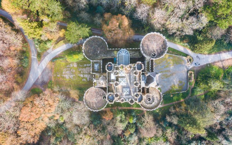 Vue aérienne du château de Butrón