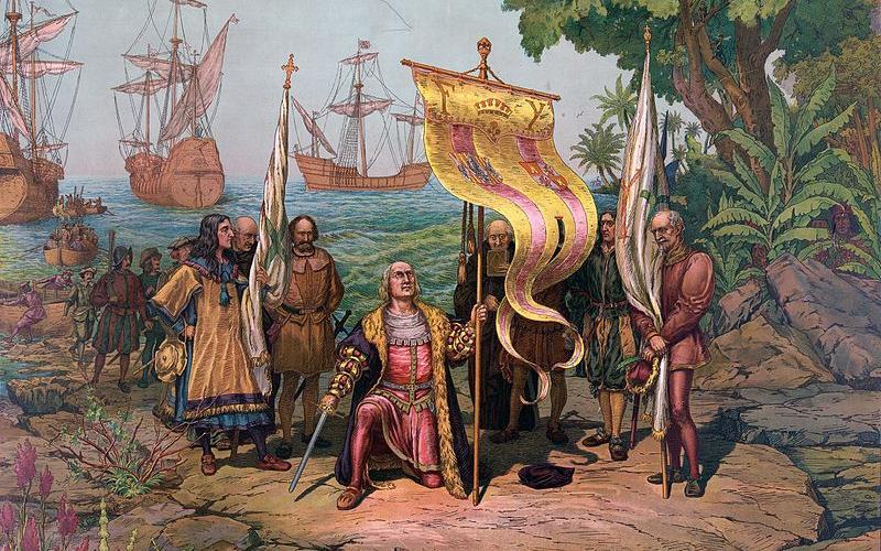 Christophe Colomb a pris possession de Guanahani au nom des Rois Catholiques le 12 octobre 1492