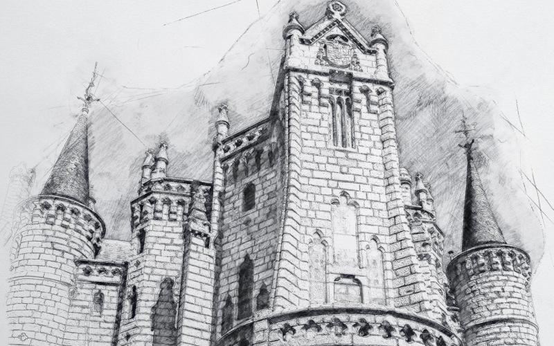 Un merveilleux dessin au crayon du palais épiscopal d'Astorga