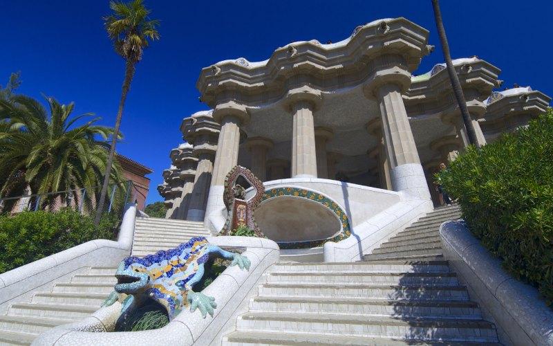 Détail de l'escalier du parc Güell