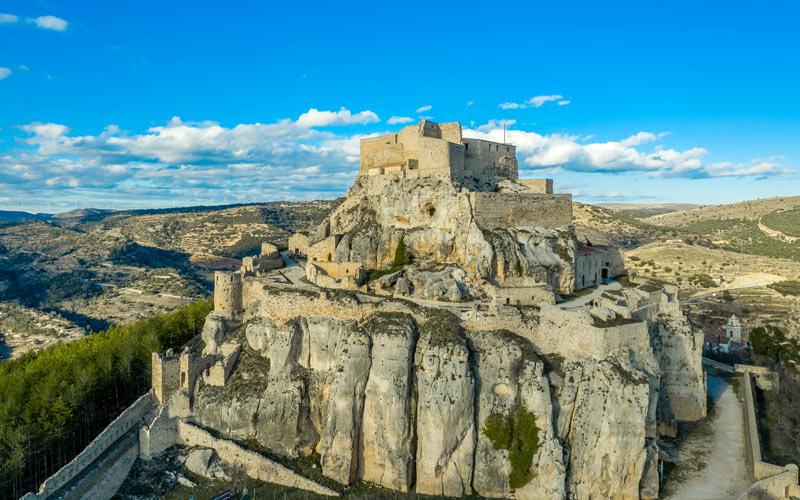 Vue aérienne de la forteresse de Morella