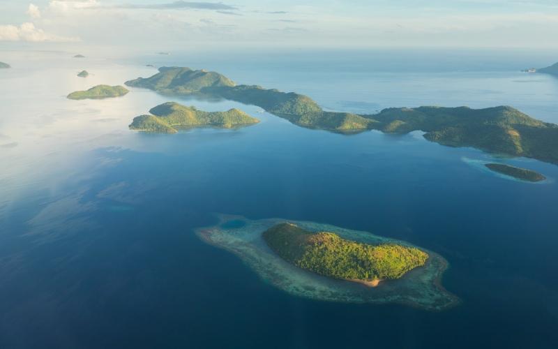Photo aérienne des îles Philippines, point névralgique du lac espagnol