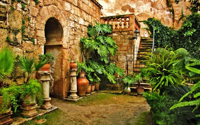 Jardin du manoir de Can Fontroig où se trouvent les bains de Palma