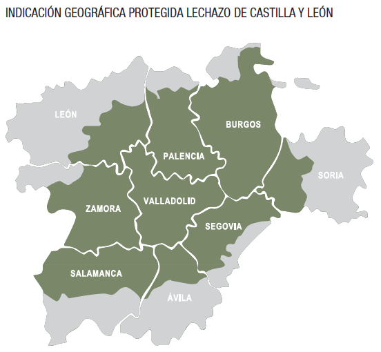 Carte de l'IGP Lechazo de Castille-et León