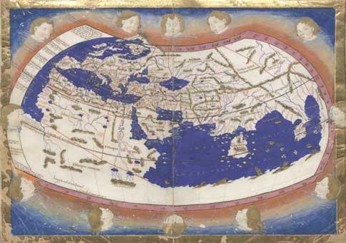 Manuscrito iluminado de la Cosmographia Ptolomaei Alexandrini