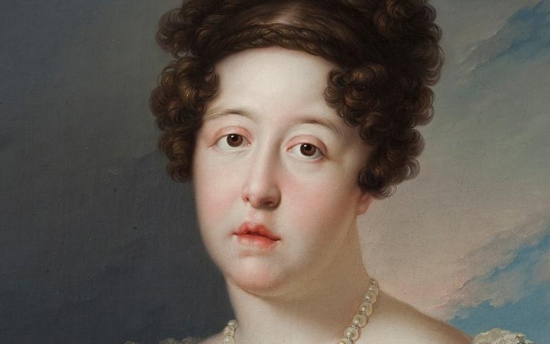 María Isabel de Braganza comme fondatrice du musée du Prado, œuvre de Bernardo López Piquer