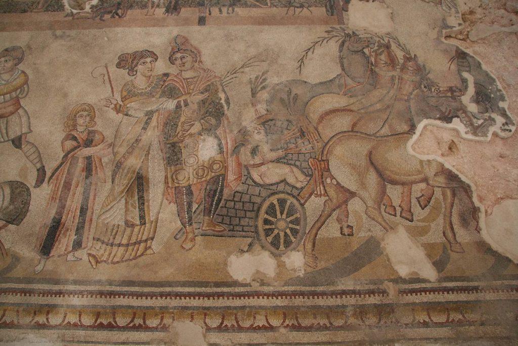 Détail de la mosaïque de la Ville romaine de Noheda