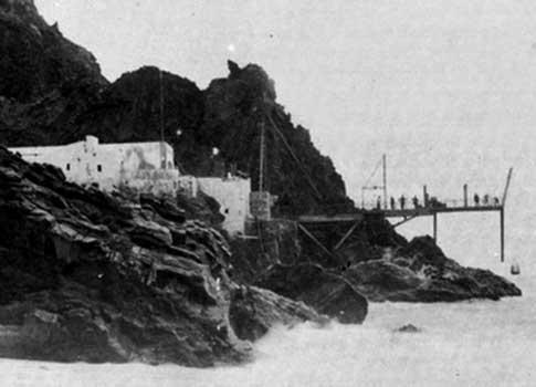 Fotografía antigua del Pescante de Agulo en La Gomera