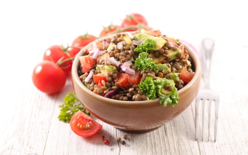 Salade de lentilles pleine de nutriments