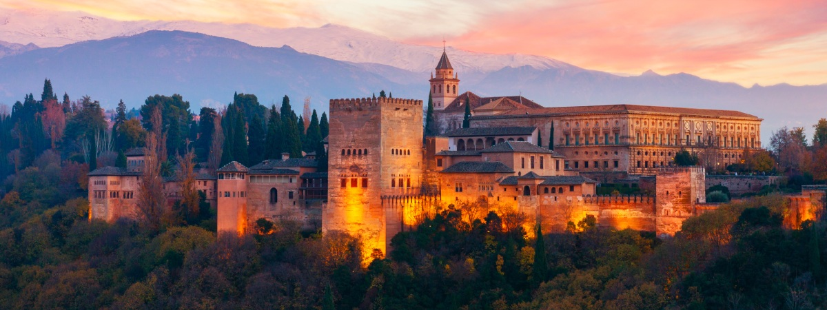 Coucher de soleil à l'Alhambra de Grenade